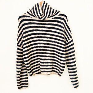 ZARA Knit Striped Turtleneck Oversized Pullover M